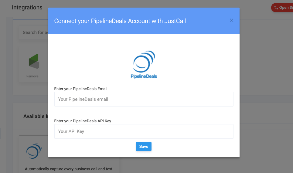 pipelinedeals integration in JustCall