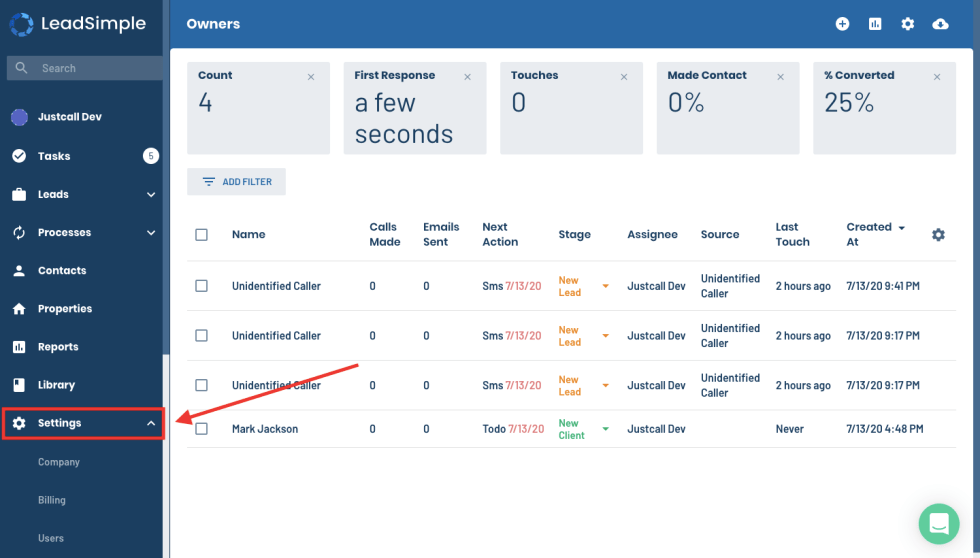 Integrations Section in LeadSimple