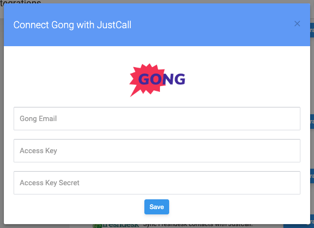 gong justcall integration